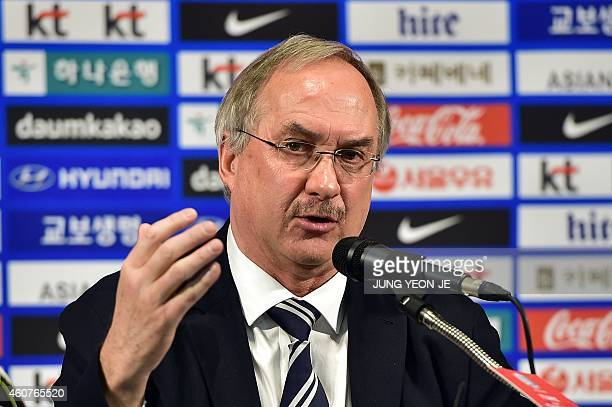 South Korea's German football coach Ulrich Stielike speaks during a press conference to announce a South Korean squad for the AFC Asian Cup in Seoul...