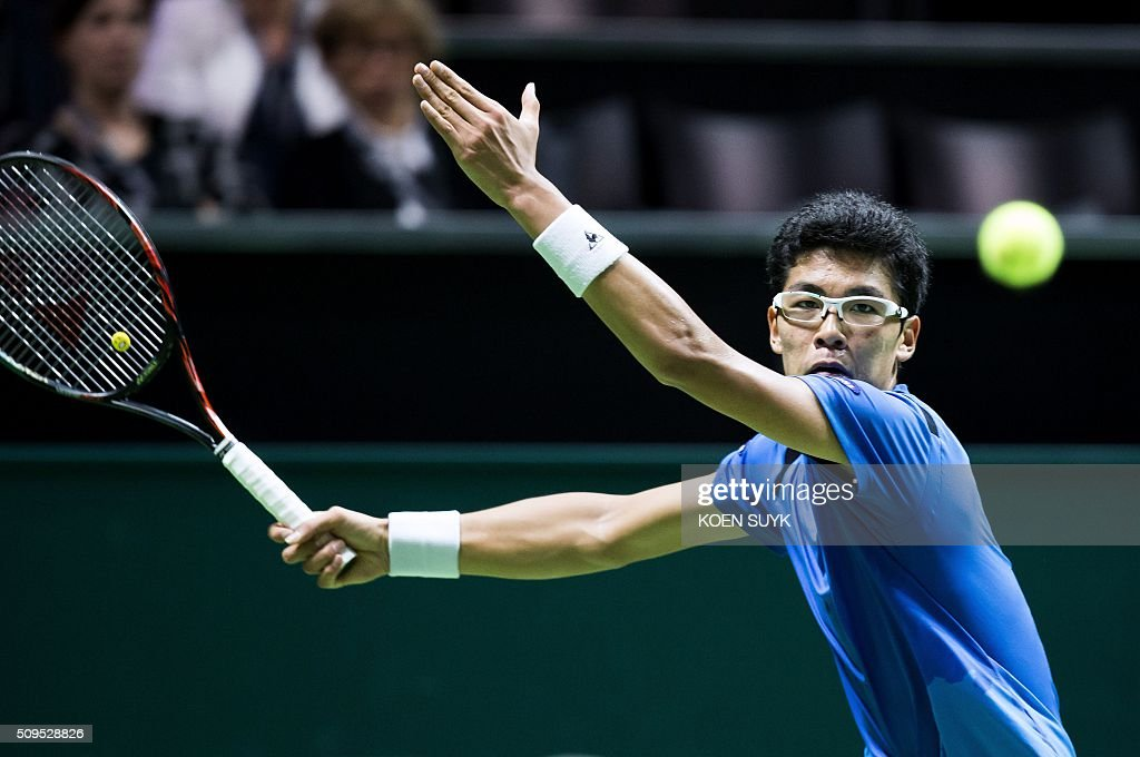 South Korea's Hyeon Chung returns the ball to Serbia's Viktor Troicki during their second round match of the ABN AMRO World Tennis Tournament in Rotterdam, Netherlands, on February 11, 2016. / AFP / ANP / Koen Suyk / Netherlands OUT