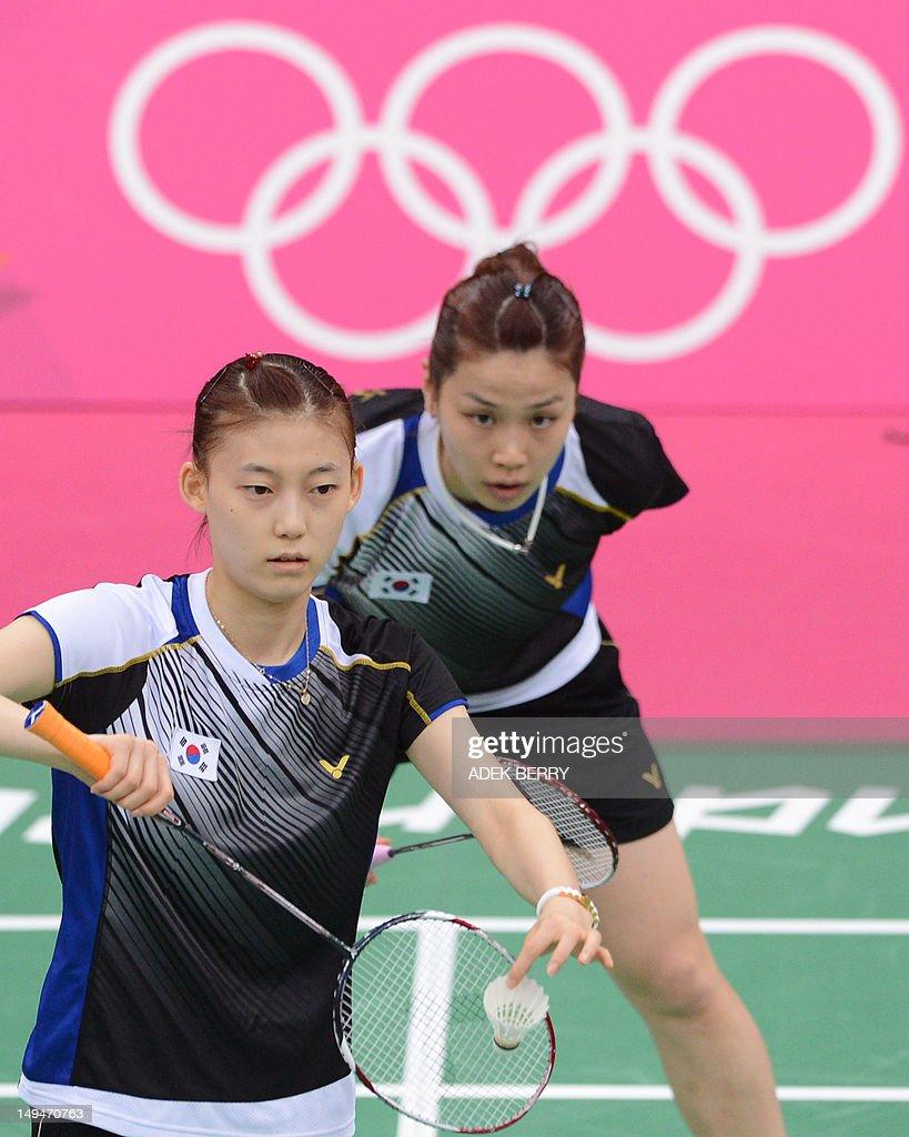 South Korea s Kim Ha Na front serves a