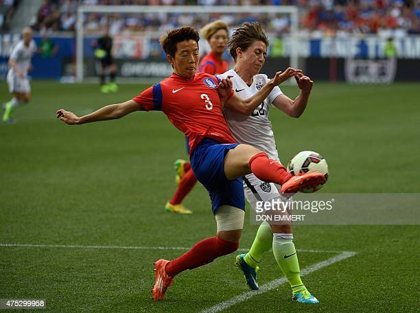 South Korea's Kim Hyeri fights for the ball with Meghan Klingenberg of the US during the friendly match between the USA and South Korea at Red Bulls...
