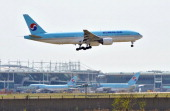 A South Korea's Korean Air plane makes a landing at Incheon international airport west of Seoul on May 2 2012 Electronic jamming signals from North...