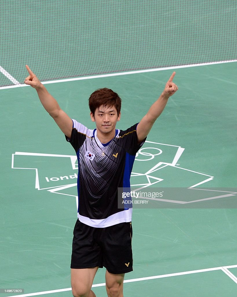 South Korea s Lee Yong Dae gestures afte
