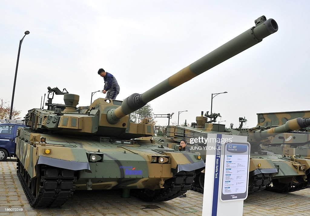 South Korea's main battle tank K2 is displayed during a press day of the Seoul International Aerospace and Defense Exhibition in Goyang, north of Seoul, on October 28, 2013. The exhibition will kick off on October 29, for a six-day run with 361 exhibitors from 28 countries providing marketing opportunities for defence contractors and diplomatic venues for military leaders on hand.
