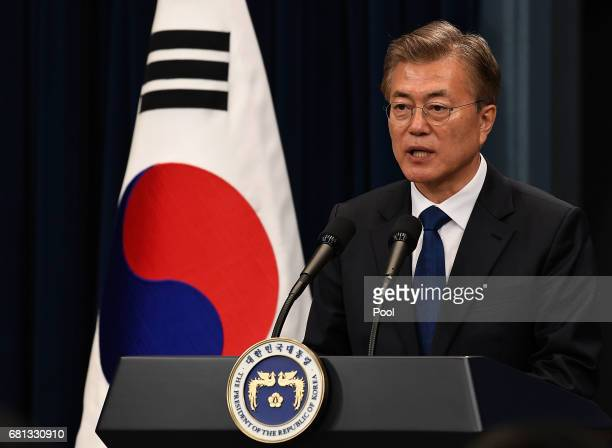 South Korea's new President Moon JaeIn speaks during a press conference at the presidential Blue House on May 10 2017 in Seoul South Korea Moon Jaein...