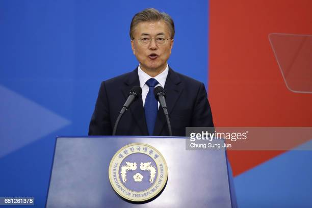 South Korea's new President Moon JaeIn speaks during his presidential inauguration ceremony at National Assembly on May 10 2017 in Seoul South Korea...