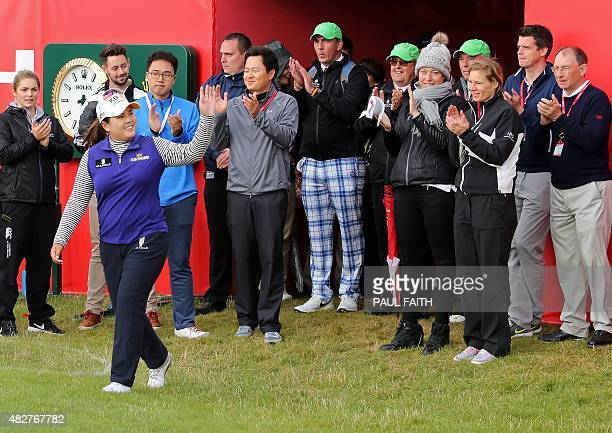 South Korea's Park Inbee celebrates her victory after her final round 65 on day four of the Women's British Open Golf Championships in Turnberry...