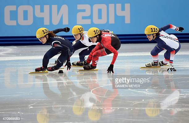 South Korea's Park SeungHi Great Britain's Elise Christie Canada's MarieEve Drolet and France's Veronique Pierron compete in the Women's Short Track...