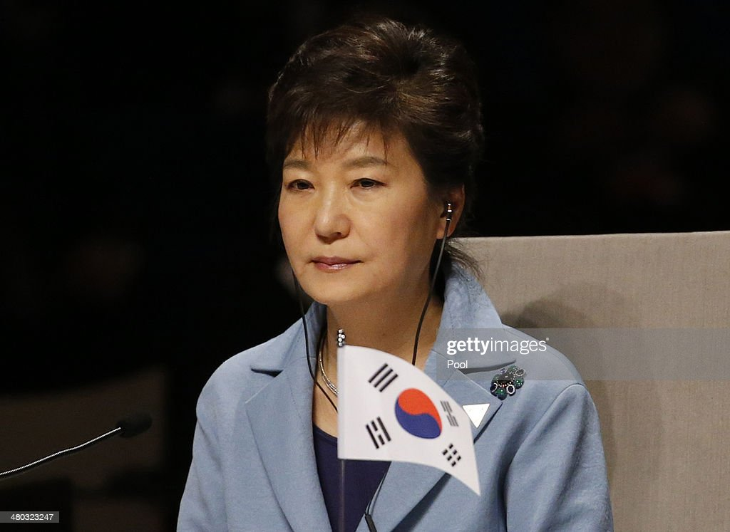 South Korea's President <a gi-track='captionPersonalityLinkClicked' href=/galleries/search?phrase=Park+Geun-hye&family=editorial&specificpeople=603075 ng-click='$event.stopPropagation()'>Park Geun-hye</a> attends the opening session of the at the 2014 Nuclear Security Summit on March 24, 2014 in The Hague, Netherlands. The Nuclear Security Summit, held March 24-25, will be attended by world leaders and is aimed at preventing nuclear terrorism.