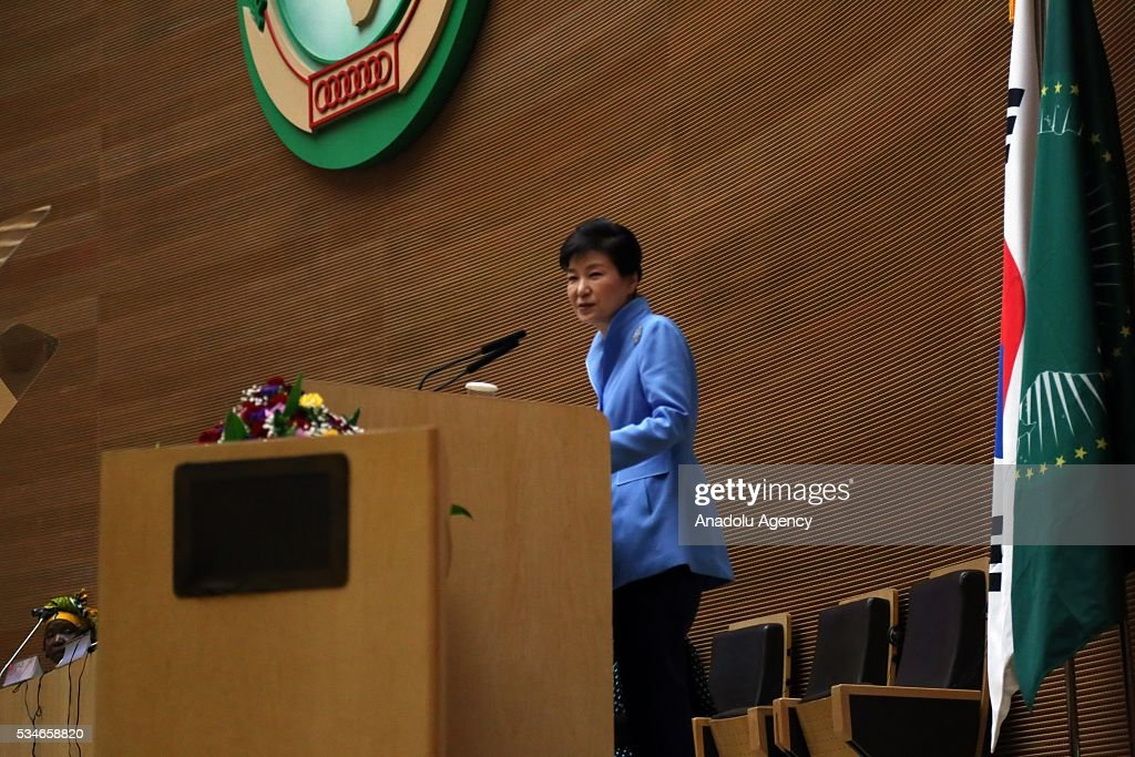 South Korea's President Park Geun-hye delivers a speech during the African Union meeting in Addis Ababa, Ethiopia on May 27, 2016.
