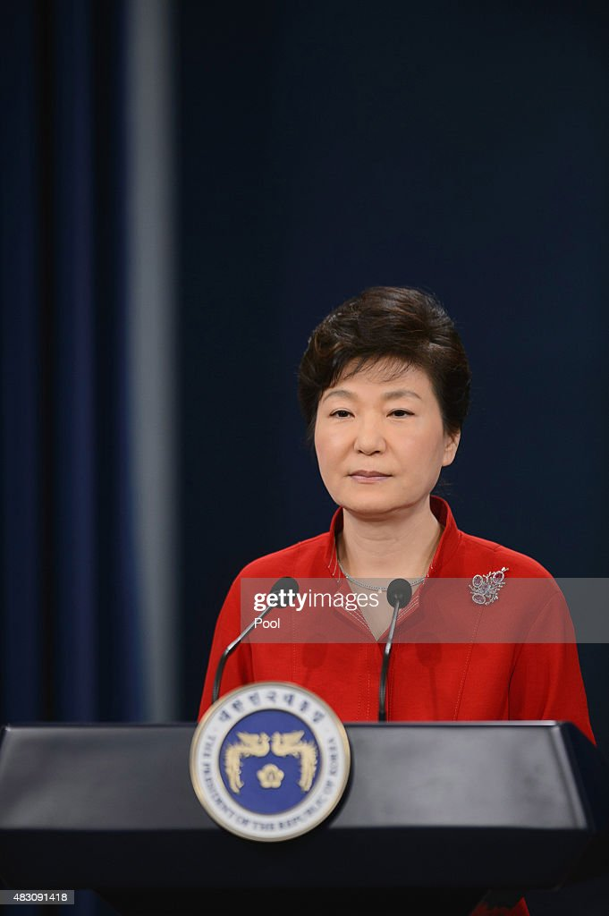 South Korea's President Park Geun-Hye speaks during a live television broadcast at the presidential Blue House on August 6, 2015 in Seoul, South Korea. President Park announced the blueprint for the second part of her five-year tenure, boosting employment for young people, overhauling major labor laws, and stimulating economic growth.