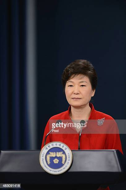 South Korea's President Park GeunHye speaks during a live television broadcast at the presidential Blue House on August 6 2015 in Seoul South Korea...