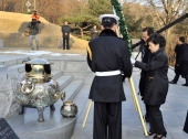 South Korea's presidentelect Park GeunHye of ruling New Frontier Party offers a wreath as she visits the grave of her father Park ChungHee the...