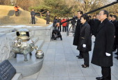 South Korea's presidentelect Park GeunHye of ruling New Frontier Party visits the grave of her father Park ChungHee the country's former dictator at...
