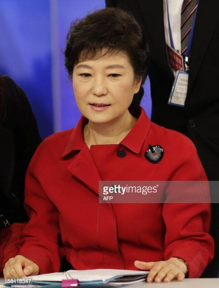 South Korea's presidential candidate Park Geunhye of ruling Saenuri Party sits before a final televised debate for the 18th presidential election in...