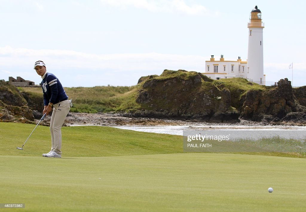 South Korea's Ryu SoYeon watches her putt shot on the 10th green on the first day of the 2015 Women's British Open Golf Championships in Turnberry...