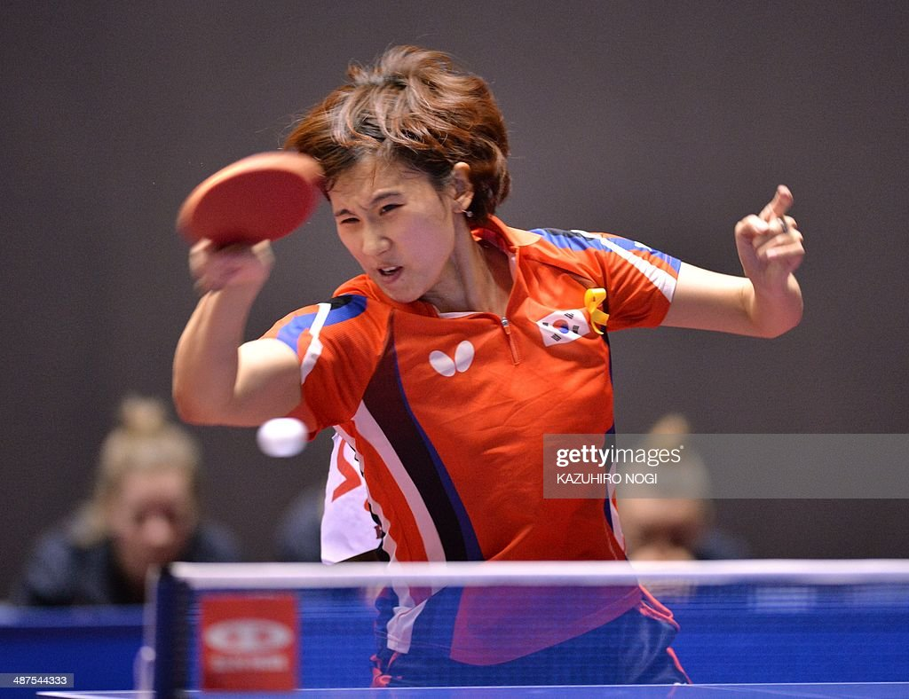 South Korea's Seok Hajung returns a shot against Luxembourg's Ni Xialian during their match in the women's team championship division group C at the 2014 World Team Table Tennis Championships in Tokyo on May 1, 2014.