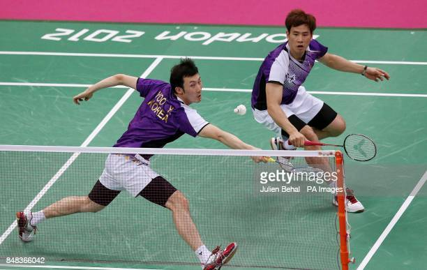 South Korea's Sung Hyun Ko and Yeon Seong Yoo in action in their men's doubles match against Poland's Dama Cwalina and Michal Logosz in the Group...