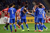 South Korea's Suwon Bluewings players celebrate their victory against Japan's Urawa Reds players during the AFC champions league group G football...