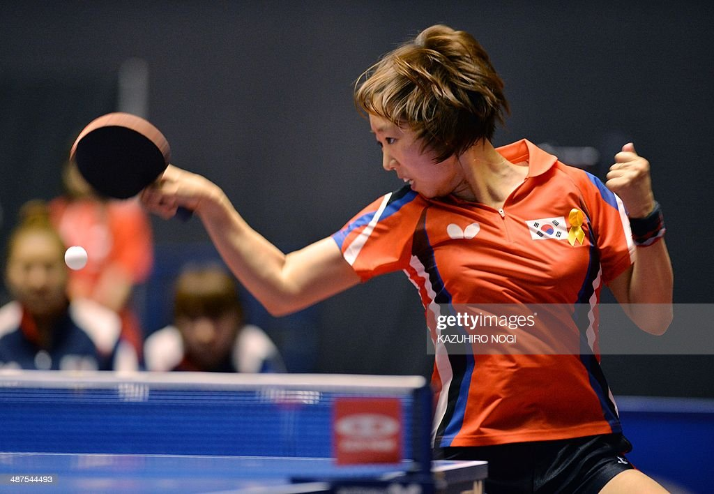 South Korea's Yang Haeun returns a shot against Luxembourg's Ni Xialian during their match in the women's team championship division group C at the 2014 World Team Table Tennis Championships in Tokyo on May 1, 2014.