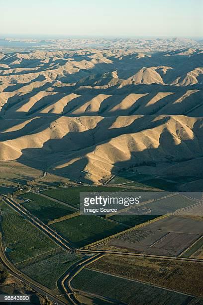 South Marlborough, aerial view of Kaikoura Range on sunset
