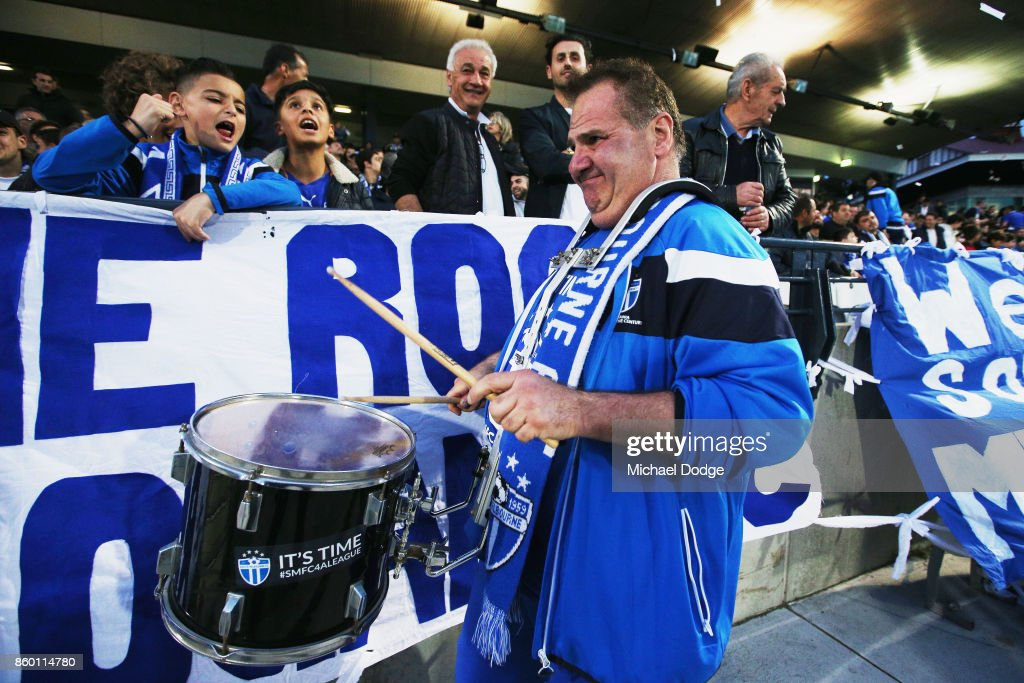 South Melbourne fans show their support during the FFA Cup Semi Final match between South Melbourne FC and Sydney FC at Lakeside Stadium on October 11, 2017 in Melbourne, Australia.