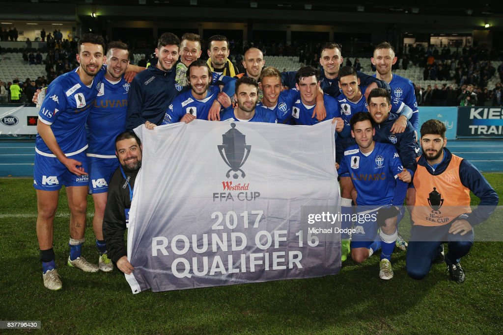 South Melbourne players celebrate their win during the FFA Cup round of 16 match between between South Melbourne FC and Sorrento FC at Lakeside Stadium on August 23, 2017 in Melbourne, Australia.