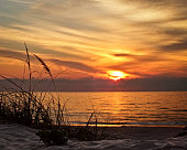 A sunrise from the beach with tall grass on South Padre Island, Texas summer of 2013