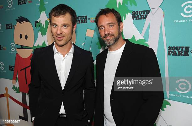 South Park writers/creators Matt Stone and Trey Parker arrive at 'South Park' 15th Anniversary Celebration at The Barker Hanger on September 20 2011...