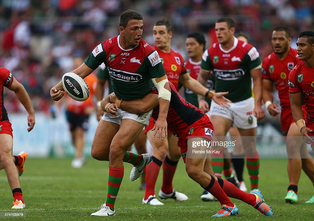 South prop Sam Burgess makes a break during the NRL Charity Shield match between the South Sydney Rabbitohs and the St George Dragons at WIN Stadium on February 22, 2014 in Wollongong, Australia.