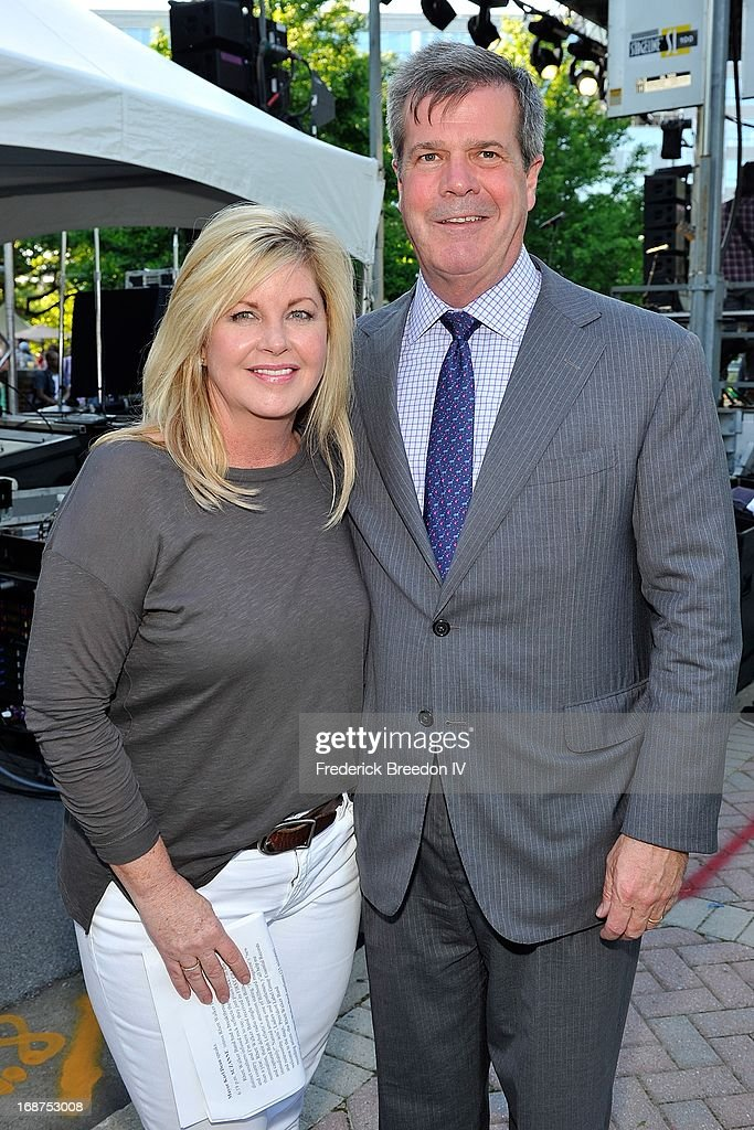 South Regional Director Susan Stewart and Nashville Mayor <a gi-track='captionPersonalityLinkClicked' href=/galleries/search?phrase=Karl+Dean&family=editorial&specificpeople=5385850 ng-click='$event.stopPropagation()'>Karl Dean</a> attend the GRAMMY Block Party at Owen Bradley Park on May 14, 2013 in Nashville, Tennessee.