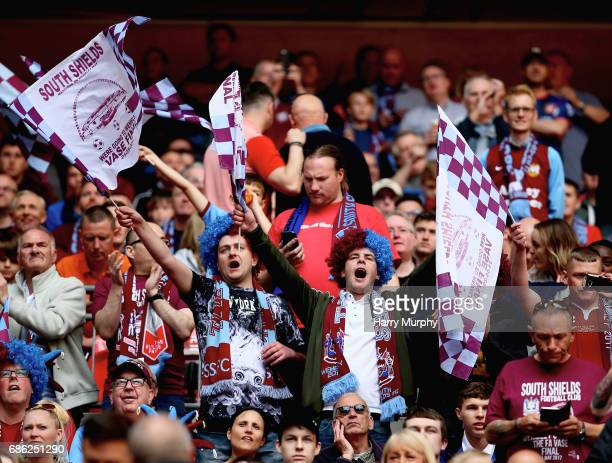 South Shield fans enjoy the pre match atmopshere prior to the Buildbase FA Vase Final between South Shields and Cleethorpes Town at Wembley Stadium...