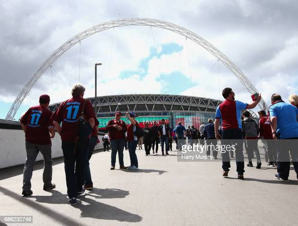 South Shields fans make their way to the stadium prior to the Buildbase FA Vase Final between South Shields and Cleethorpes Town at Wembley Stadium...