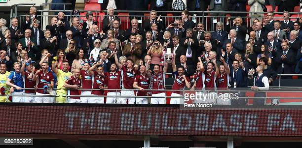 South Shields players celebrate victory at the end of The Buildbase FA Vase Final between South Shields and Cleethorpes Town at Wembley Stadium on...
