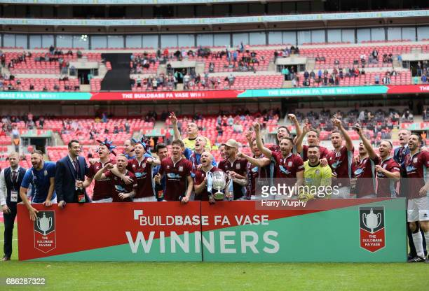 South Shields players celebrate winning the FA Vase trophy after the Buildbase FA Vase Final between South Shields and Cleethorpes Town at Wembley...