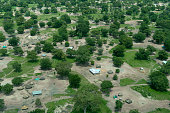 An aerial view of the South Sudan landscape, with houses and yards visible in this disctrict on the edge of Juba.