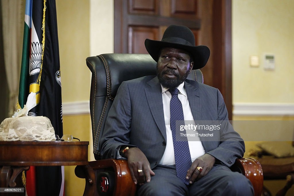 South Sudan President Salva Kiir is pictured during a meeting with German Development Minister Gerd Mueller (not pictured) on March 27, 2014 in Juba, South Sudan. Mueller is on a two day trip to Southsudan and Mali.