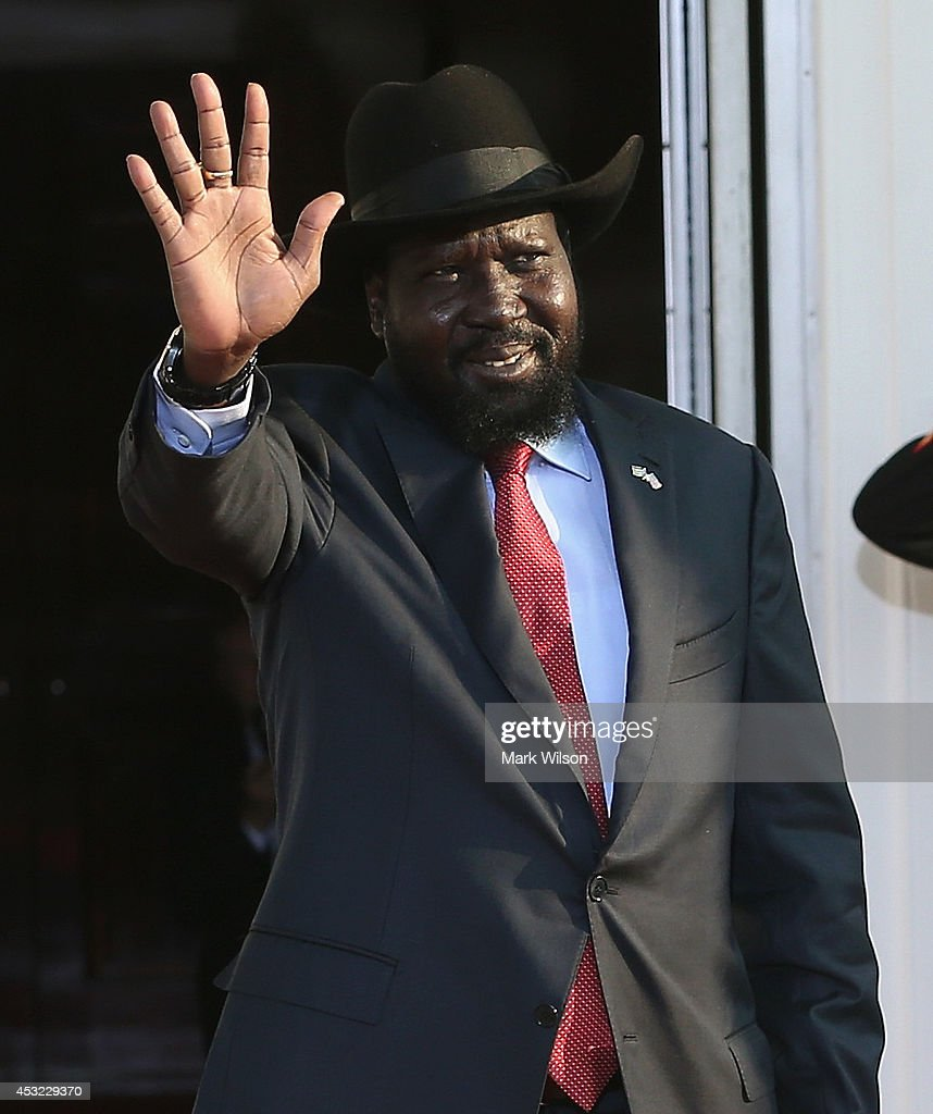 South Sudan President <a gi-track='captionPersonalityLinkClicked' href=/galleries/search?phrase=Salva+Kiir+Mayardit&family=editorial&specificpeople=2629283 ng-click='$event.stopPropagation()'>Salva Kiir Mayardit</a> arrives at the North Portico of the White House for a State Dinner on the occasion of the U.S. Africa Leaders Summit, August 5, 2014 in Washington, DC. African leaders are attending a three-day-long summit in Washington to strengthen ties between the United States and African nations.