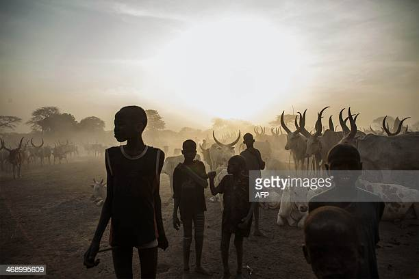 South Sudanese children from the Dinka ethnic group pose at cattle camp in the town of Yirol in central South Sudan on February 12 2014 UN leader Ban...