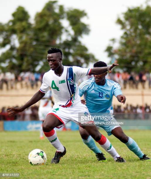 South Sudan's defender James Hassan controls the ball during the first round African Nations Championship qualifying football match between South...