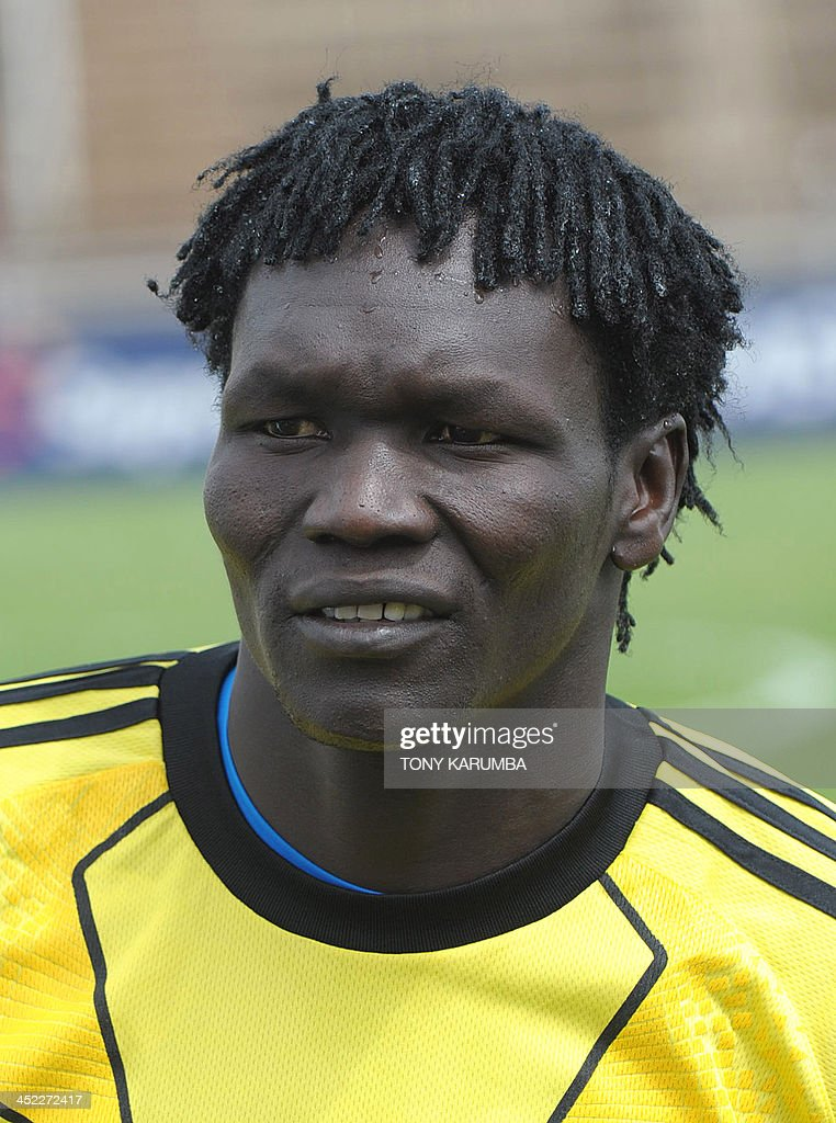 South Sudan's Juma Jinaro poses ahead of the Council for East and Central Africa Football Associations (CECAFA) Cup football tournament match between South Sudan and Zanzibar in Nairobi, on November 27, 2013. AFP PHOTO/ TONY KARUMBA