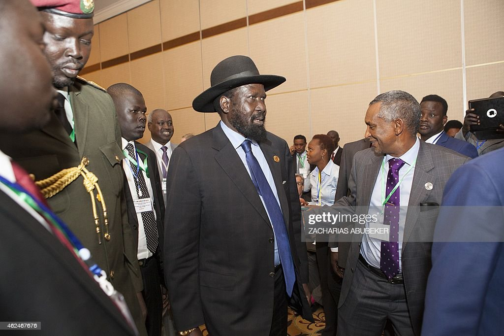 South Sudan's president Salva Kiir arrives to attend the Intergovernmental Authority on Development (IGAD) 29th Extraordinary Summit, on January 29, 2015 in Addis Ababa. The main topic of the summit, held on the sidelines of the annual African Union Summit, is the ongoing conflict between the warring parties in South Sudan, which has lasted more than a year.