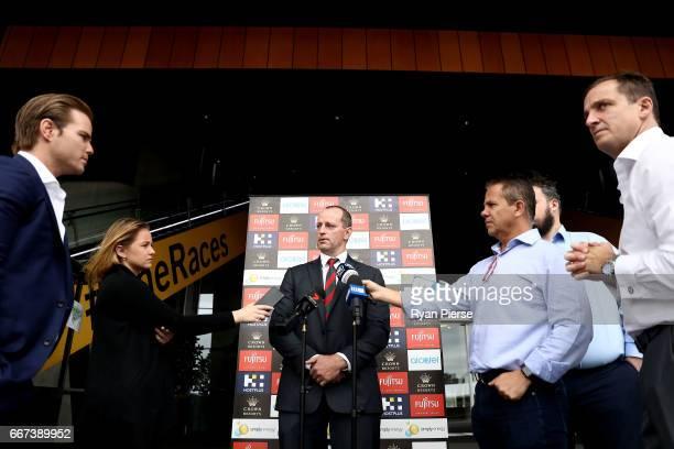 South Sydney Rabbitohs Head Coach Michael Maguire speaks during a South Sydney Rabbitohs NRL media opportunity at Royal Randwick Racecourse on April...