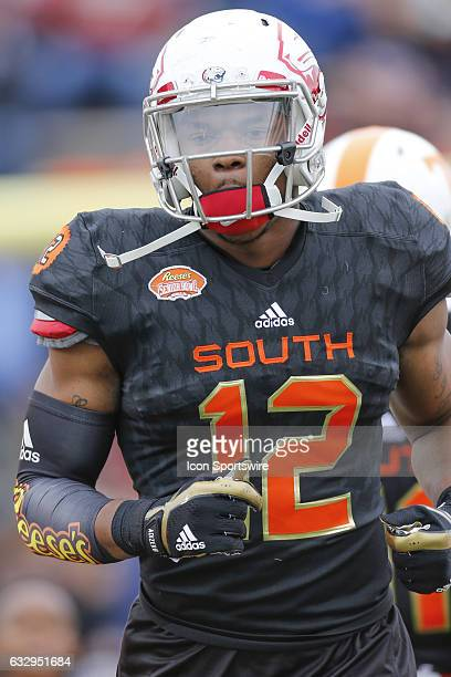 South Team Gerald Everett comes onto the field during the 2017 Senior Bowl college football game at LaddPeebles Stadium Mobile AL
