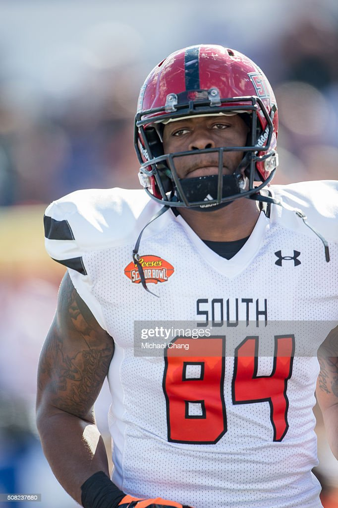 South team's tightend Darion Griswold #84 with Arkansas State on January 30, 2016 at Ladd-Peebles Stadium in Mobile, Alabama.