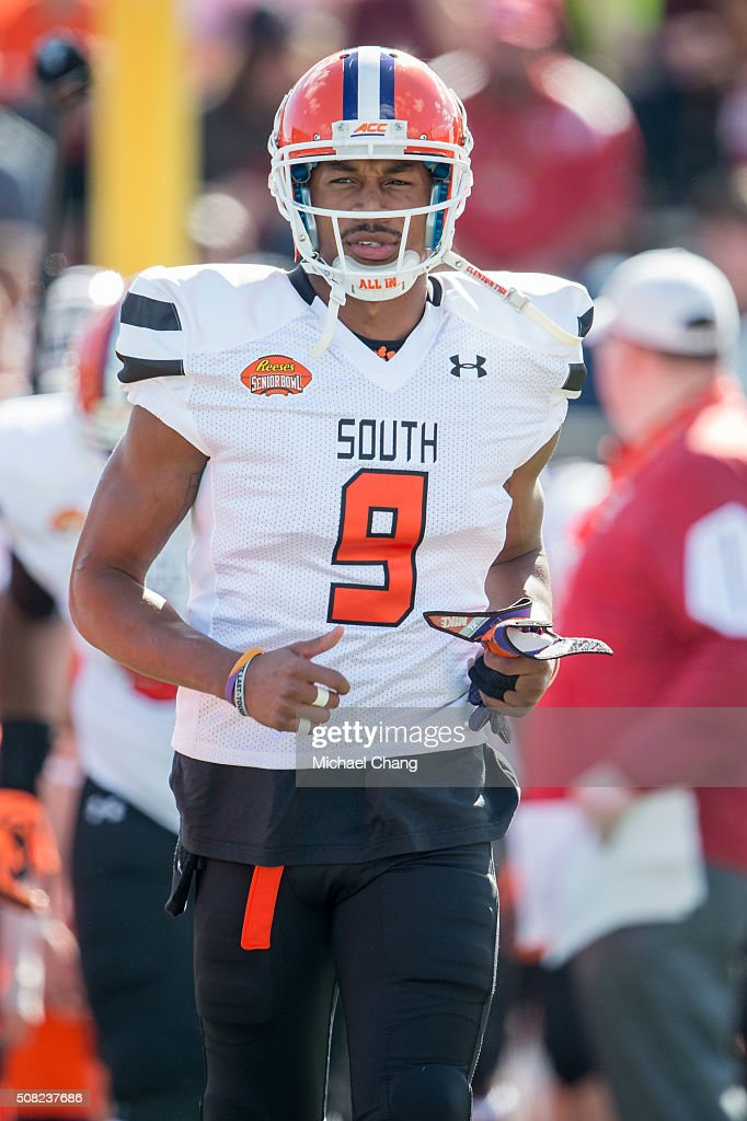 South team's wide receiver Charone Peake #9 with Clemson on January 30, 2016 at Ladd-Peebles Stadium in Mobile, Alabama.