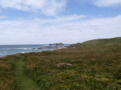 South West Coast Path at Gwithian Beach at the Godrevy Lighthouse end Cornwall UK