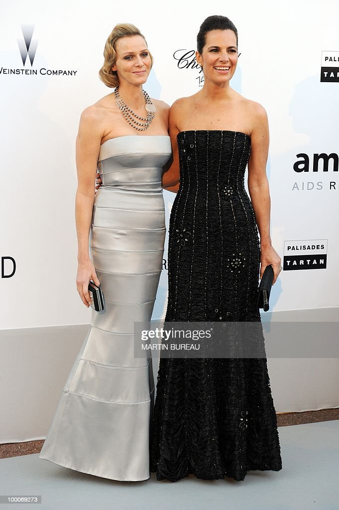 South-African swimmer Charlene L. Wittstock and Roberta Armani pose while arriving at amfAR's Cinema Against Aids 2010 benefit gala on May 20, 2010 in Antibes, southeastern France.