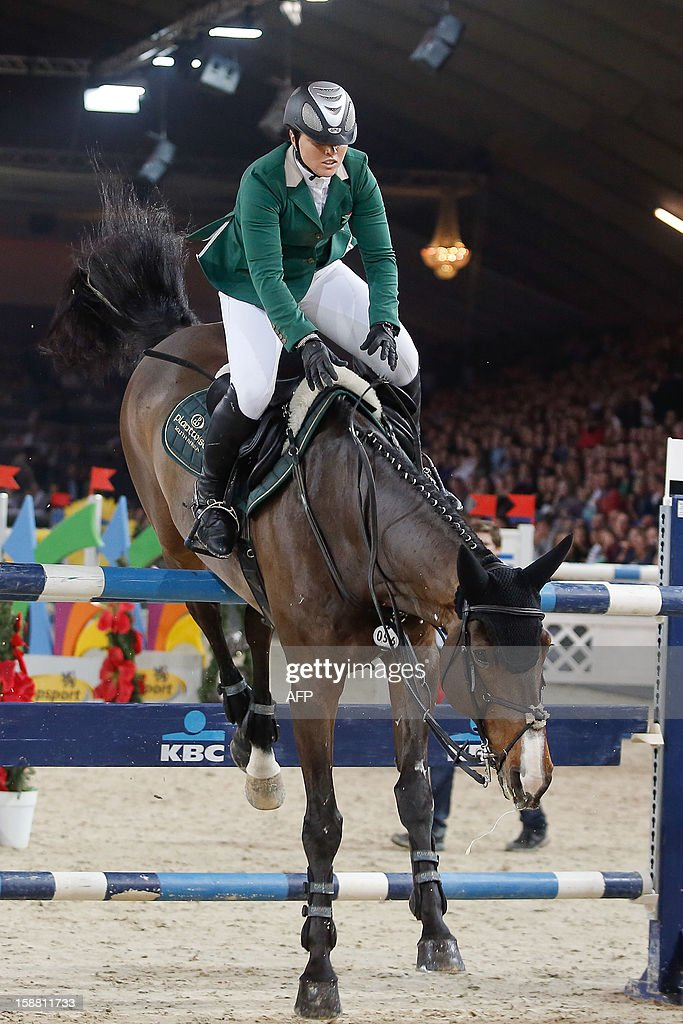 OUT +++++ South-Africa's Neriske Prinsloo competes riding Bill Clinton during the 'Memorial Eric Wauters' equestrian FEI World Cup Jumping competition, on December 30, 2012, in Mechelen. BELGA /