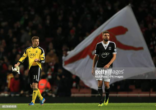 Southampton Artur Boruc shows his dejection with Jos Hooiveld after the goalkeeper's mistake lead to Arsenal's Olivier Giroud scoring the opening...