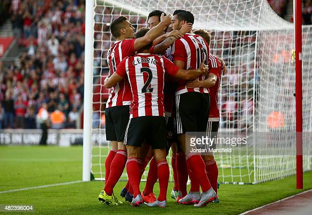 Southampton celebrate with Graziano Pelle after he scores to make it 10 during the UEFA Europa League Third Qualifying Round 1st Leg match between...